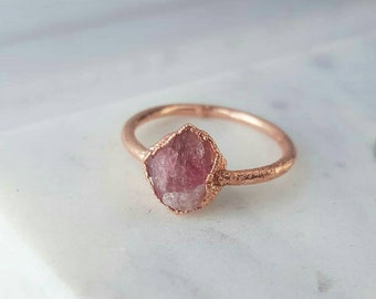 Pink Tourmaline Copper Ring/Tourmaline Ring/Healing Stone Jewelry/ Electroformed Ring/ Electroformed Jewelry