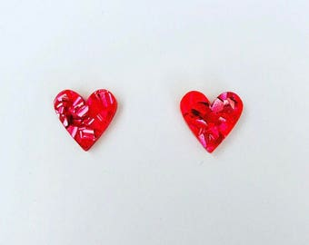 Hot Pink Lux Glitter Sweet Heart Studs