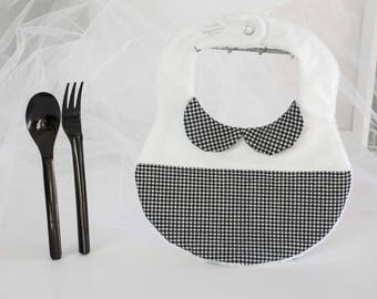 Chic black and white gingham baby bib