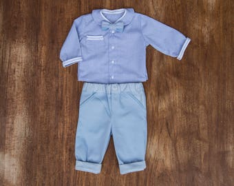 3 pieces set pants/shirt / bow package baby boy blue ceremony/baptism/wedding