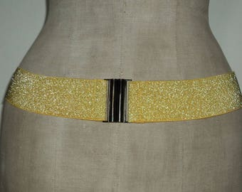 Yellow sequined wide elastic belt