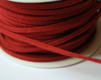 Red suede cord 2 mm x 1 meter