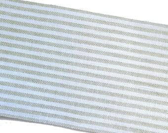Bande lin 47 x 12 cm rayé écru et beige, bande à broder rayures , toile broderie lin 12 fils