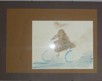 "framed watercolor painting series ""little women by bike"""