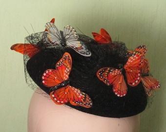 1950s Inspired Butterfly Net Fascinator Hat