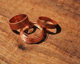 Solid copper and wire toe ring set