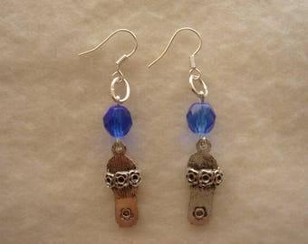"Earrings ""summer Sandals"" Sapphire beads"