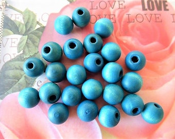 26 round cabochons 10 mm Indian blue wooden beads