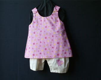 polka dots and yellow bloomer set