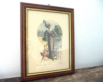 Vintage framed French fashion shows. Paris. The chic woman. Souchel.