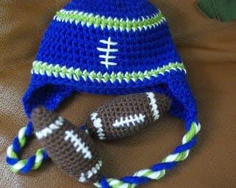 Crochet football fan hat, Any Team colors, Football hat, tailgating hat, football season,