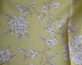 White flowers on lime - Greige background upholstery fabric * 78 cm x 1.35 m