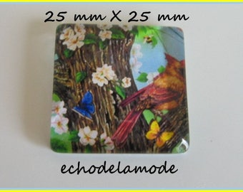 1 glass square 25 mm X 25 mm nature, tree, flowers, butterflies ref18