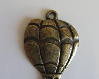 1 Charm pendant bronze hot air balloon charm