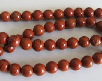 1 lot of 10 round red jaspe beads 8 mm