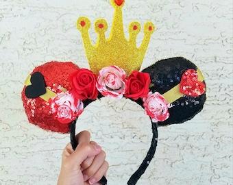 Queen of Hearts Inspired Ears - Alice in Wonderland Disney Mickey Ears Headband