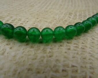 20 genuine dark green Malaysian jade beads 6mm transparent