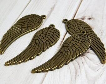 4pcs - Angel Wing Pendant - Angel Wing Charms - Bronze Angel Wings - Bronze Pendants - Antique Bronze - Wing Pendant - Boho Pendants -(3568)