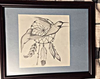Dreamcatcher Hummingbirds Original Drawing