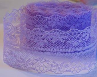 1 meter ❥ pretty soft floral wide lace Purple Ribbon