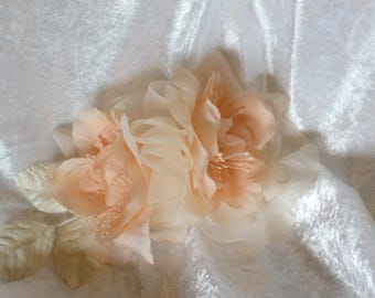 Apricot flowers bridal hair accessory