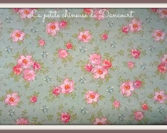 Fabric Tilda mollis teal Roses by the yard