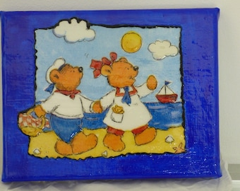 children's room table napkin and acrylic