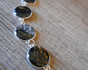 Silver Midnight Blue cabochon gold and silver leaf bracelet