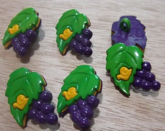 Set of six buttons with foot grape