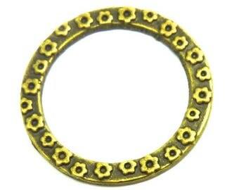 Set of 9 circles connectors color bronze antique flowers