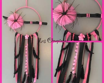 Dream catcher black and pink with driftwood and black feathers