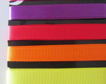 Set of three grosgrain ribbons and 2 ribbons satin - 9 and 16 mm - 90 cm