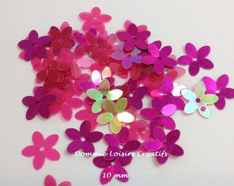 Plastic pink iridescent sequins