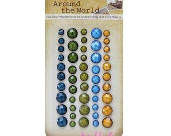 "Set of 50 stickers rhinestone ""Around the world 1"" scrapbooking card making embellishment *."