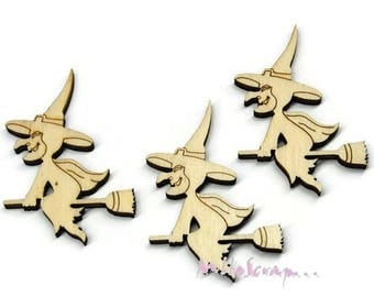 Set of 3 witches wood blank scrapbooking card making (ref.710) *.