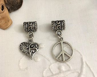 set of 2 charms on bails, heart and peace and love, antique silver