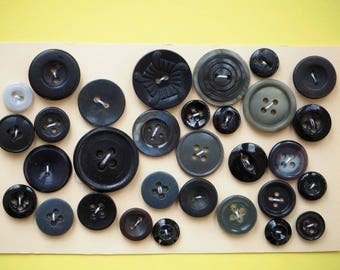 Set of 26 buttons 10 to 22mm black and gray tones for sewing or scrapbooking
