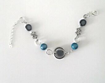 Bracelet Silver Blue Pearl and black.
