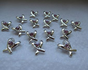ribbons 1.4 cm silver beads with Pink Rhinestone set of 16 jewelry creations