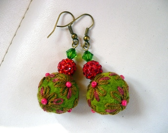 Earrings made of wool felt and embroidered green and red costume jewelry