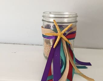 Decorative party Jars, Mermaid party favors, party supplies, Under the Sea party supplies, Ariel party