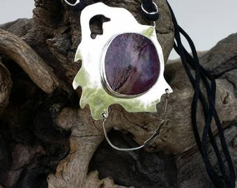 South African Sugalite and Sterling Silver Necklace