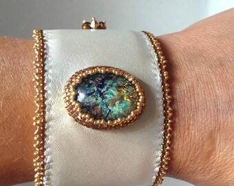Bejeweled silver holiday bracelet