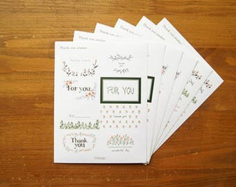 "Set of 6 sheets of decals / stickers / tags ""thank you"" 15 x 12cm paper"