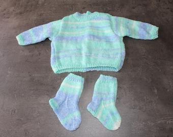 """baby sweater, socks """"mottled blue"""" 3 months"""