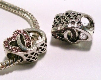 European bead pink heart in silver metal alloy and rhinestones (19(d))