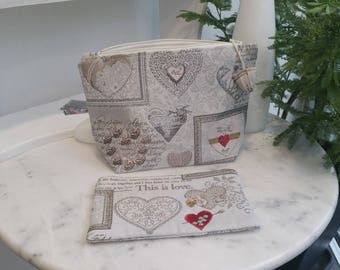 Set Kit toiletry and makeup Ecru with love hearts