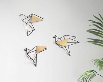 Set of 3 wall art, geometric birds,gold metal bird wall art, metal birds wall decor, home decor gifts, minimalist wall art, valentines day