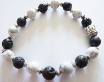Bracelet Simple Tibetan Howlite and lava