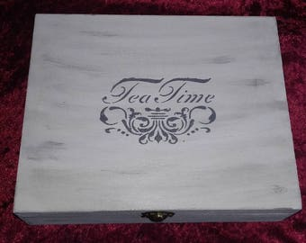 Shabby Tea Caddy 9 compartments